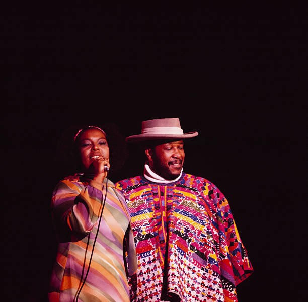 Roberta Flack and Les McCann perform on stage at Yankee...