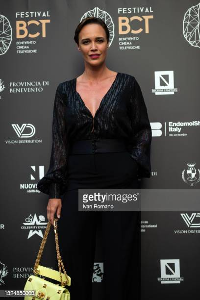 Roberta Giarrusso poses at the photocall at the 5th edition of the Festival Benevento Cinema Televisione on June 21, 2021 in Benevento, Italy.