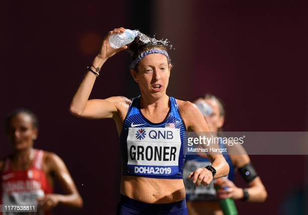 Roberta Groner of the United States pours water on her head as she competes in the Women's Marathon during day one of 17th IAAF World Athletics...