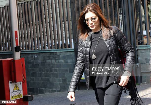 Roberta Lanfranchi arrives to pay tribute to Fabrizio Frizzi, as his body lies in State, at the headquarters of RAI in Viale Mazzini on March 27,...