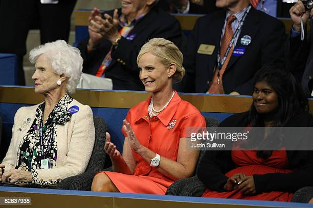 Roberta McCain mother of presumptive Republican presidential nominee US Sen John McCain his wife Cindy McCain and their daughter Bridget sit together...