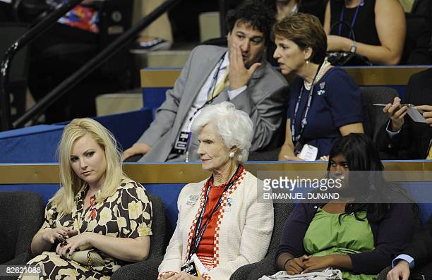Roberta McCain mother of Republican presidential candidate John McCain is seen with John McCain's daughters Meghan McCain and Bridget McCain in...