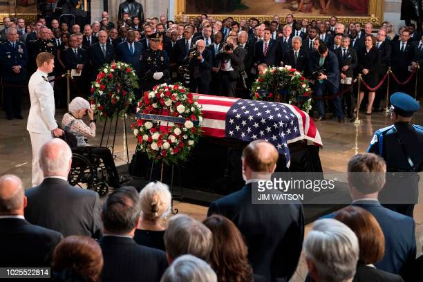 Roberta McCain the 106yearold mother of John McCain pays her respects to the flagdraped casket bearing the remains of her son who lived and worked in...