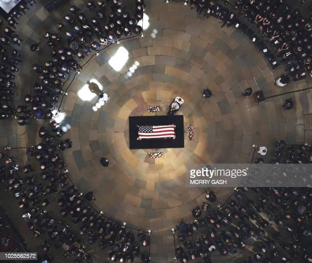Roberta McCain the 106yearold mother of the late US Senator John McCain pays her respects during the ceremony in the US Capitol Rotunda in Washington...