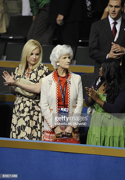 Roberta McCain the 96yearold mother of US Republican presidential candidate John McCain is applauded by McCain's daughters Meghan Bridget and the...