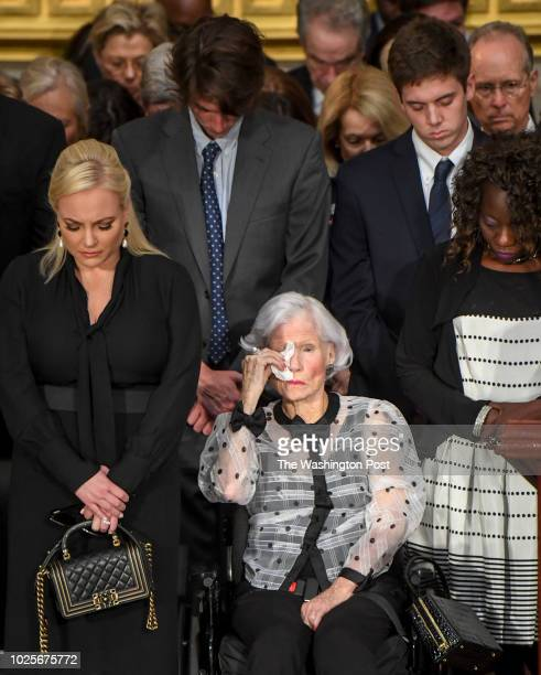 Roberta McCain wipes away tears during a ceremony where the body of her son lateSen John S McCain lies in state to honor the sixterm senator from...