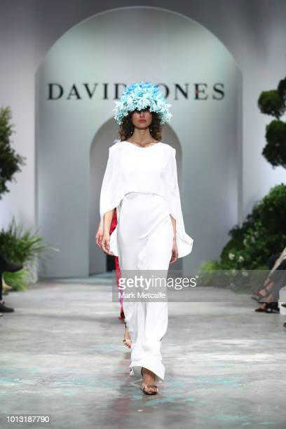 Roberta Pecoraro showcases designs by Ginger and Smart during the David Jones Spring Summer 18 Collections Launch at Fox Studios on August 8 2018 in...