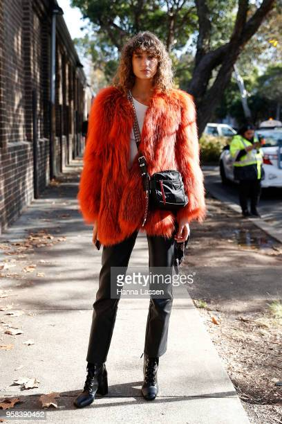 Roberta Pecoraro wearing faux fur coat and Prada bag during MercedesBenz Fashion Week Resort 19 Collections at Carriageworks on May 14 2018 in Sydney...