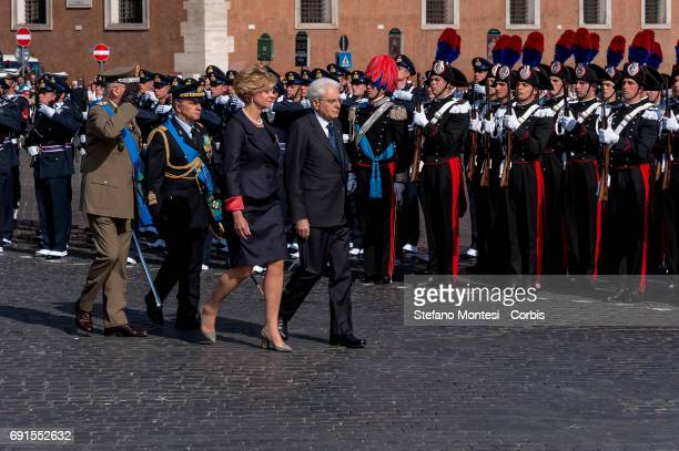 Roberta Pinotti Defense Minister and President of the Republic Sergio Mattarella attend the military parade during the celebrations of the Italian...