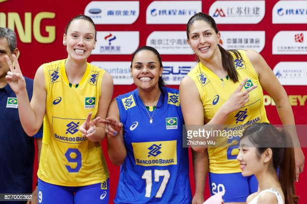 Roberta Silva Ratzke#20 Ana Beatriz Correa and Suelen Pinto of Brazil celebrate during the award ceremony 2017 Nanjing FIVB World Grand Prix Finals...