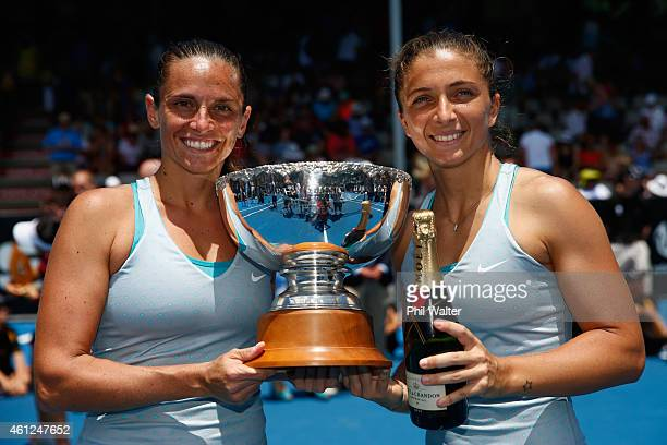 Roberta Vinci and Sara Errani of Italy pose with the trophy following their doubles final against Shuko Aoyama of Japan and Renata Voracova of the...