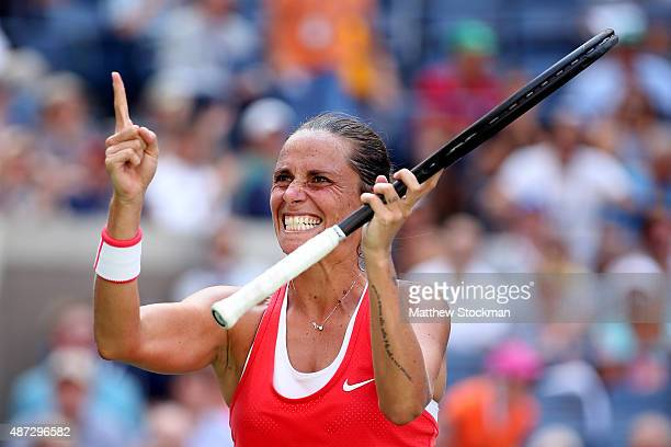 Roberta Vinci of Italy celebrates after defeating Kristina Mladenovic of France in their Women's Singles Quarterfinals Round match on Day Nine of the...