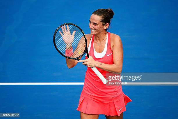Roberta Vinci of Italy celebrates after defeating Mariana DuqueMarino of Colombia during their Women's Singles Third Round match on Day Five of the...