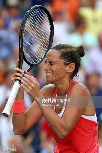 Roberta Vinci of Italy celebrates after defeating Serena Williams of the United States in their Women's Singles Semifinals match on Day Twelve of the...