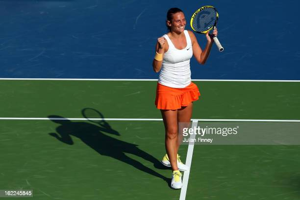 Roberta Vinci of Italy celebrates defeating Samantha Stosur of Australia during day four of the WTA Dubai Duty Free Tennis Championship on February...