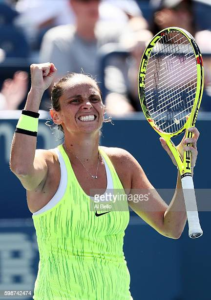 Roberta Vinci of Italy celebrates her win over Carina Witthoeft of Germany during her third round Women's Singles match on Day Five of the 2016 US...
