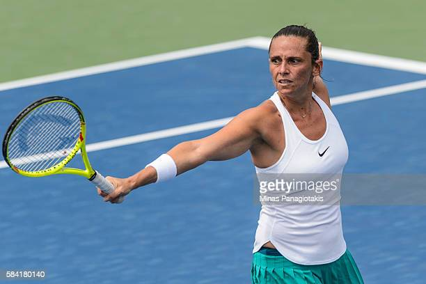 Roberta Vinci of Italy hits a return against Darya Kasatkina of Russia during day four of the Rogers Cup at Uniprix Stadium on July 28 2016 in...