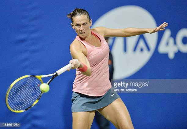Roberta Vinci of Italy in action during her women's singles second round match against Lucie Safarova of Czech Republic during day two of the Toray...
