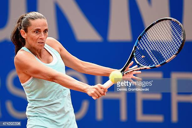 Roberta Vinci of Italy plays a backhand in her match against Kurumi Nara of Japan during Day six of the Nuernberger Versicherungscup 2015 on May 21...