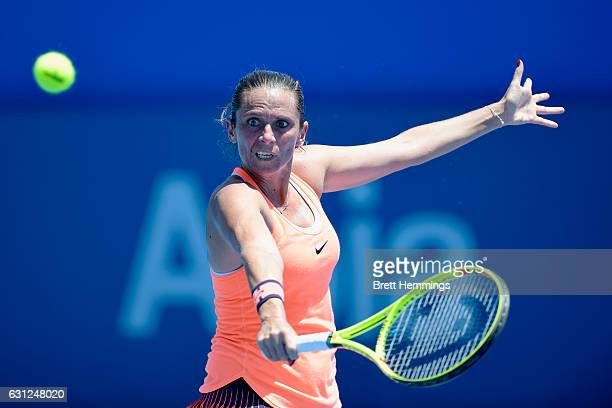 Roberta Vinci of Italy plays a backhand shot in her first round match against Maria Sakkari of Greece during day two of the 2017 Sydney International...