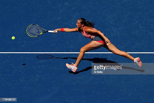 Roberta Vinci of Italy plays a forehand during her women's singles quarterfinal match against Flavia Pennetta of Italy on Day Ten of the 2013 US Open...