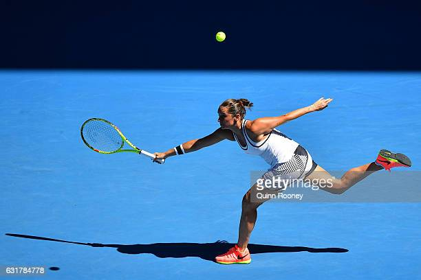 Roberta Vinci of Italy plays a forehand in her first round match against Coco Vandeweghe of the United States on day one of the 2017 Australian Open...