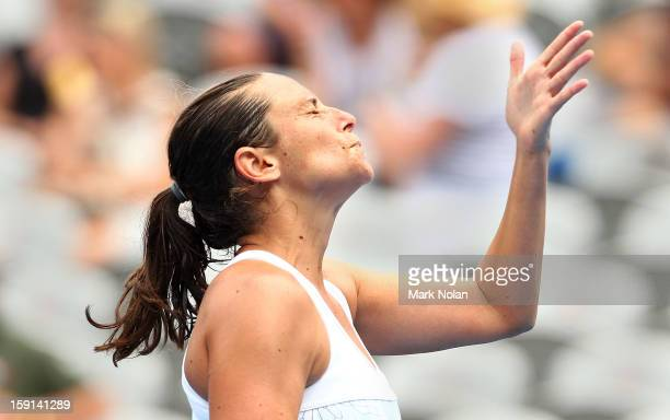 Roberta Vinci of Italy reacts after a point in her quaterfinal match against Agnieszka Radwanska of Poland during day four of the Sydney...