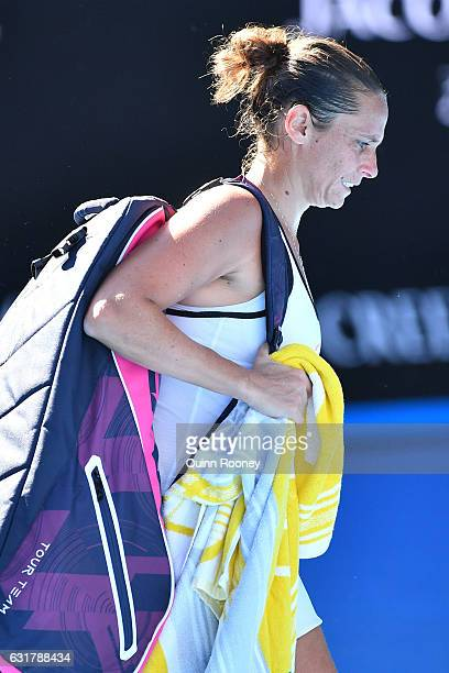 Roberta Vinci of Italy reacts after losing her first round match against Coco Vandeweghe of the United States on day one of the 2017 Australian Open...