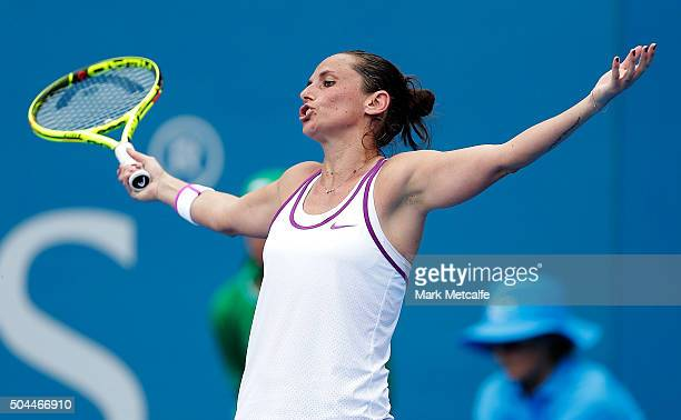 Roberta Vinci of Italy reacts to losing a point in her match against Sam Stosur of Australia during day two of the 2016 Sydney International at...