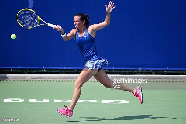 Roberta Vinci of Italy returns a shot against Zhu Lin of China during day one of the 2014 WTA Guangzhou Open at Taint Sports Center on September 15...