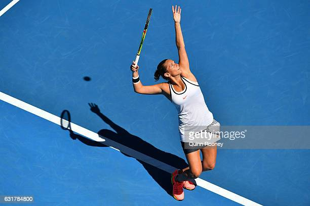 Roberta Vinci of Italy serves in her first round match against Coco Vandeweghe of the United States on day one of the 2017 Australian Open at...