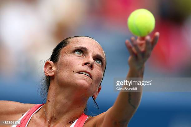 Roberta Vinci of Italy serves to Flavia Pennetta of Italy during their Women's Singles Final match on Day Thirteen of the 2015 US Open at the USTA...