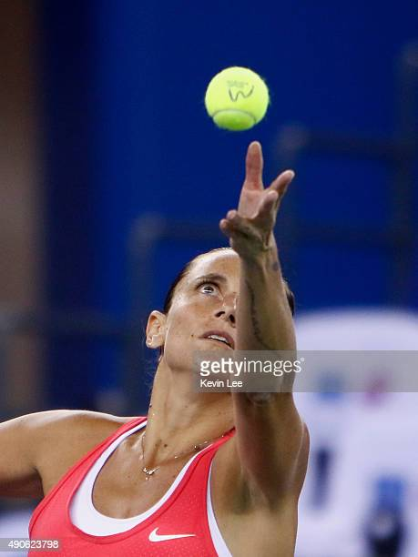 Roberta Vinci of Italy serves to Petra Kvitova of Czech Republic during her match at day 4 of 2015 Dongfeng Motor Wuhan Open at Optics Valley...