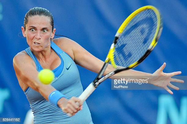 Roberta Vinci winner of the tournament playing a slice backhand in Palermo Italy on July 12 2013 Photo Guglielmo Mangiapane/NurPhoto