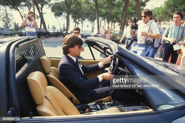 Robertino Rossellini arrive au Palais princier apres la mort de la Princesse Grace le 16 septembre 1982 a Monaco.