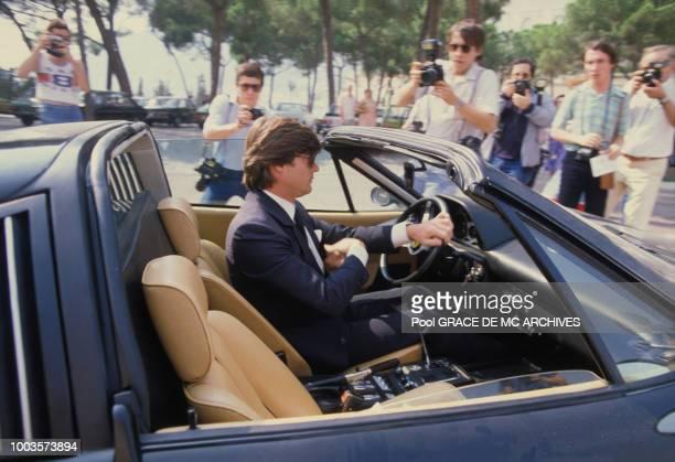 Robertino Rossellini arrive au Palais princier en voiture décapotable aprés la mort de la Princesse Grace le 16 septembre 1982 a Monaco.