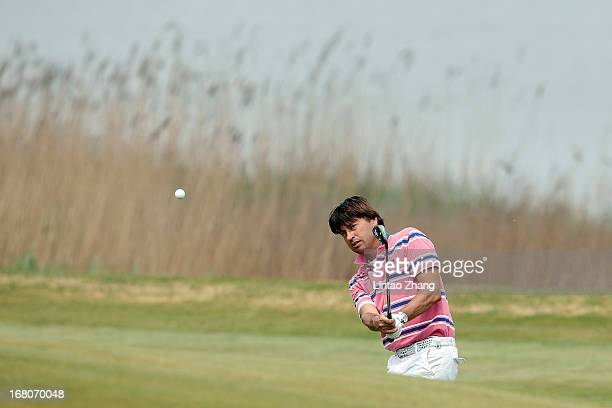 Robert-Jan Derksen of the Netherlands plays a shot during the during the final round of the Volvo China Open at Binhai Lake Golf Course on May 5,...
