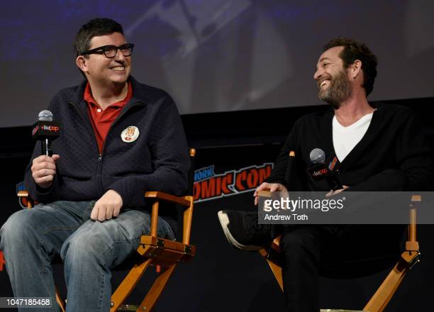 Roberto AguirreSacasa Luke Perry speak onstage at the Riverdale Sneak Peek and QA during New York Comic Con at The Hulu Theater at Madison Square...