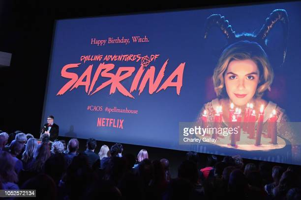 Roberto AguirreSacasa speaks onstage at Netflix Original Series Chilling Adventures of Sabrina red carpet and premiere event on October 19 2018 in...