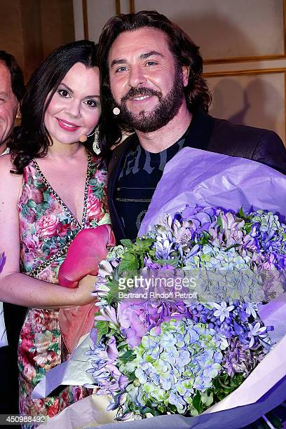 Roberto Alagna and his wife Aleksandra Kurzak perform during the L'Oreal Gala Evening 2014 at Chateau de Versailles on June 20 2014 in Versailles...