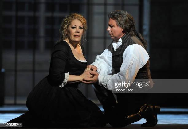 Roberto Alagna as Andrea Chenier and Sondra Radvanovsky as Maddalena di Coigny in The Royal Opera's production of Umberto Giordano's Andrea Chenier...