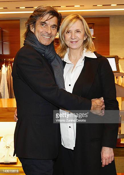 Roberto Alessi and guest attend 'Zegna Valet by Antonio Citterio' cocktail party on April 17 2012 in Milan Italy