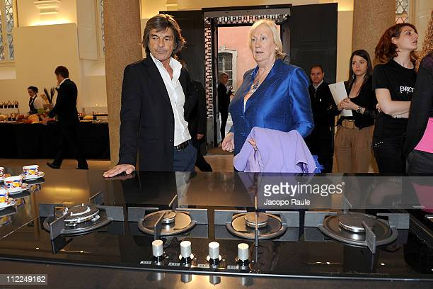 Roberto Alessi and Silvana Coveri attend Enrico Coveri' S Kitchen during Milan Design Week 2011 on April 15 2011 in Milan Italy