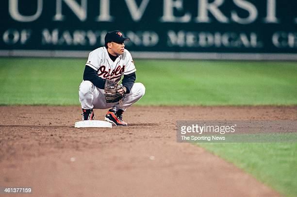 Roberto Alomar of the Baltimore Orioles during Game Four of the American League Championship Series against the New York Yankees on October 14 1996...