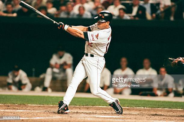 Roberto Alomar of the Baltimore Orioles during Game One of the American League Championship Series against the Cleveland Indians at Oriole Park at...