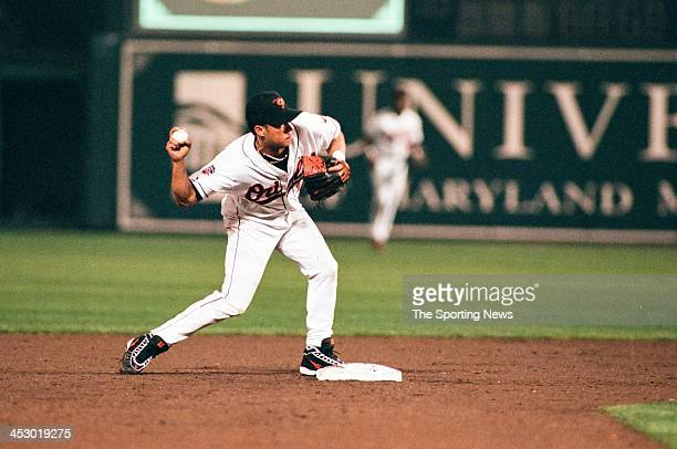 Roberto Alomar of the Baltimore Orioles during Game One of the American League Championship Series against the Cleveland Indians on October 8 1997 at...