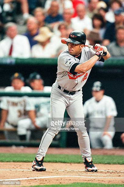 Roberto Alomar of the Baltimore Orioles during the AllStar Game on July 7 1998 at Coors Field in Denver Colorado