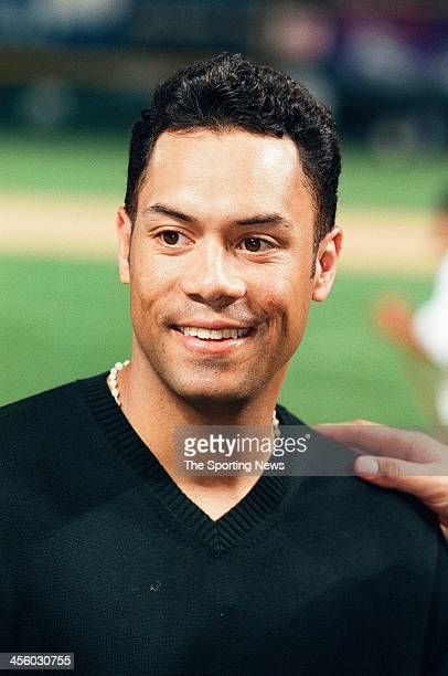 Roberto Alomar of the Baltimore Orioles wins the Most Valuable Player Award following the All-Star Game on July 7, 1998 at Coors Field in Denver,...