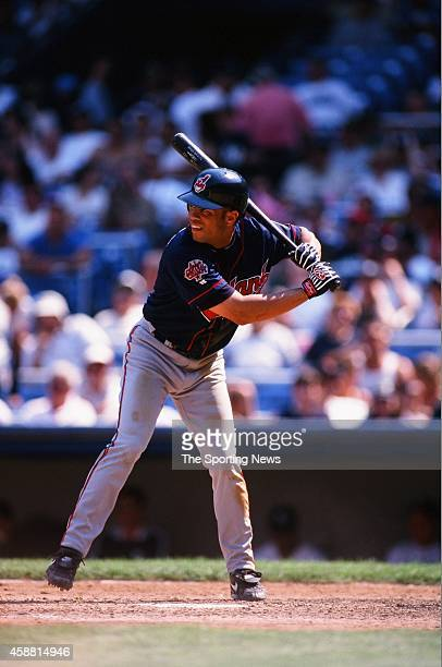 Roberto Alomar of the Cleveland Indians bats against the New York Yankees at Yankee Stadium on May 31 1999 in the Bronx borough of New York City