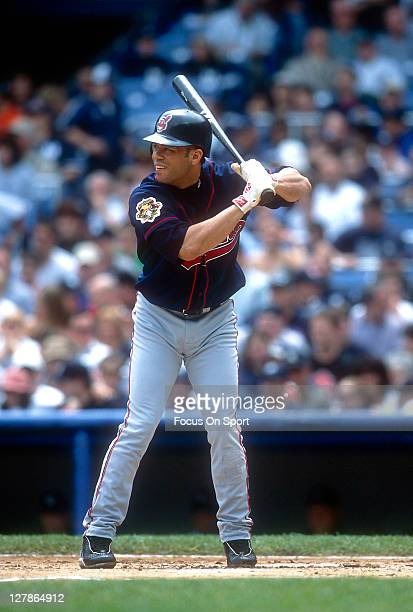 Roberto Alomar of the Cleveland Indians bats against the New York Yankees during an Major League Baseball game circa 1999 at Yankee Stadium in the...